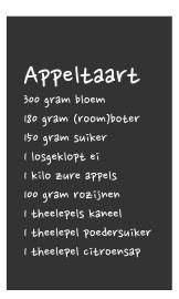 Wandtekst recept appeltaart