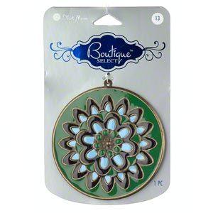 Antiqued gold-plated steel and enamel, light blue/black/green, 3-inch flower design. 1pc
