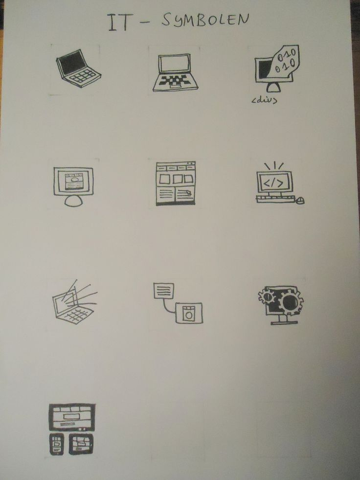 Schetsen symbolen Informatietechnologie
