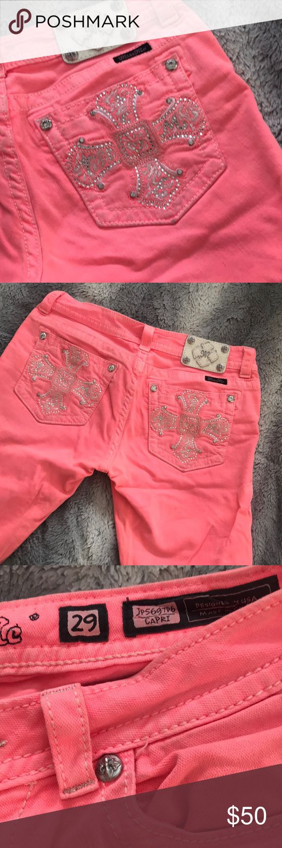 💋💋STUNNING Miss Me capris 💋💋 The most beautiful color, a coral (orangey pinky) capris is so cute!! With Miss Me famous cross on the pocket and bling on the front they are amazing. Only worn once. Miss Me Jeans Ankle & Cropped