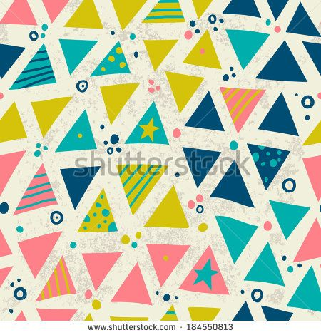 Bright geometric pattern. Simple seamless background with triangles and polka dots.