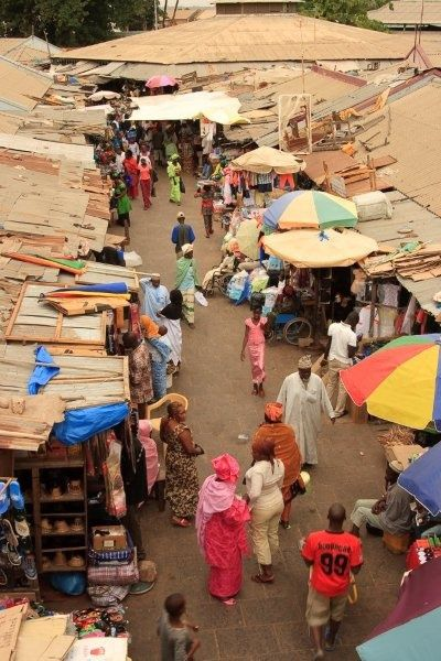 A colourful market in Banjul, Gambia