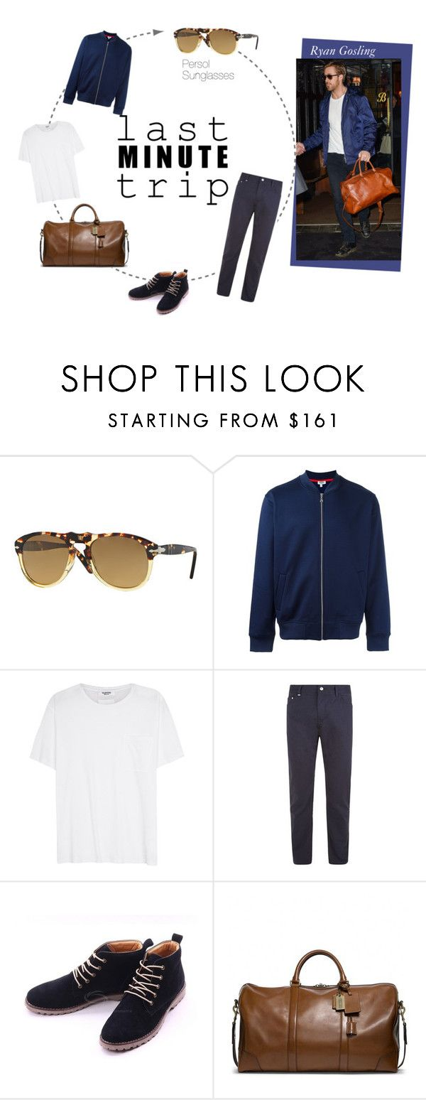 """Ryan Gosling travelling with style"" by visiondirect ❤ liked on Polyvore featuring Persol, Kenzo, Valentino, BOSS Hugo Boss, Coach, men's fashion, menswear, celebrity, sunglasses and ryangosling"
