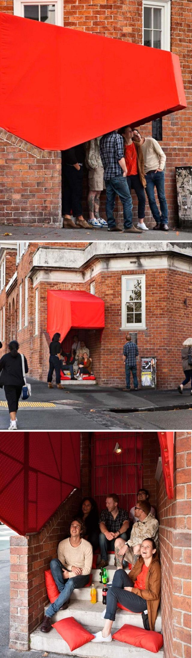 Stairway Cinema is the third major installation by OH.NO.SUMO. This project takes inspiration from the site and its inhabitants. The intersection of Symonds Street and Mount Street is a place of 'hard waiting'. Bus stops and laundromats create a hard-scape of poor space for social interaction. Members of the public retreat individually into the media offered on their mobile phones.