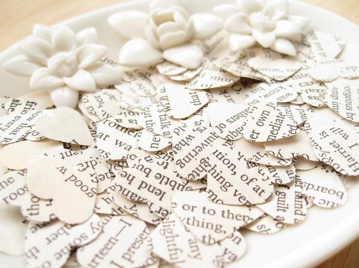1000 Heart Romance Novel Book Confetti - Wedding Decor, Table, Bridal Shower