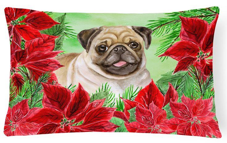 Fawn Pug Poinsettas Canvas Fabric Decorative Pillow CK1365PW1216