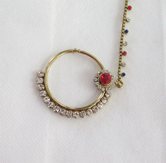 Indian Gold Antique Red Blue Stone Nose Ring Hoop by Beauteshoppe