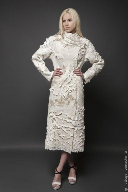 Купить Пальто - белый, абстрактный, пальто женское, пальто из шерсти, ручная авторская работа