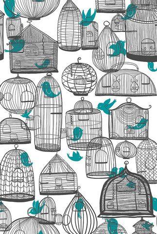 birdcages: Birds Prints, Birds Cages, Birdcages Illustrations, Wallpapers Patterns, Backgrounds, Art Prints, Nichols Lillian, Breakfast Area, Wallpapers Design