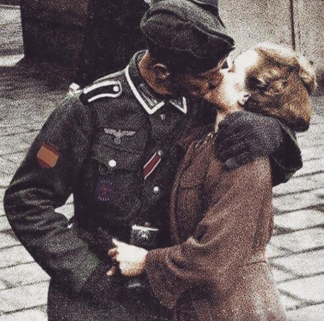 Spanish Blue Division soldier kissing his girlfriend