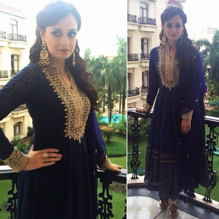 Dia Mirza in a blue anarkali suit by AnitaDongre