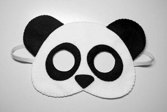 Panda oso sintió máscara - en blanco y negro hecho a mano de los animales del bosque para los niños adultos - vestido suave hasta jugar juegos de rol foto accesorio apoyos Teatro