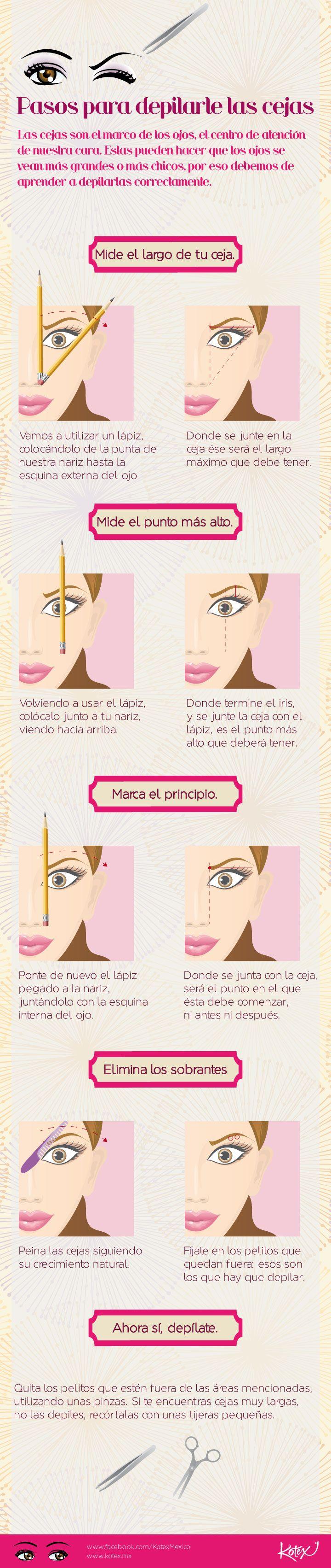Depilación de cejas: pasos súper sencillos.     #belleza #cejas #cool #makeup #maquillaje #tutorial #infografia