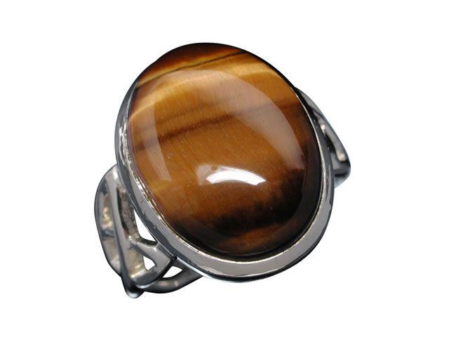 Sterling Silver 16x12mm Oval Tiger Eye Celtic Ring-