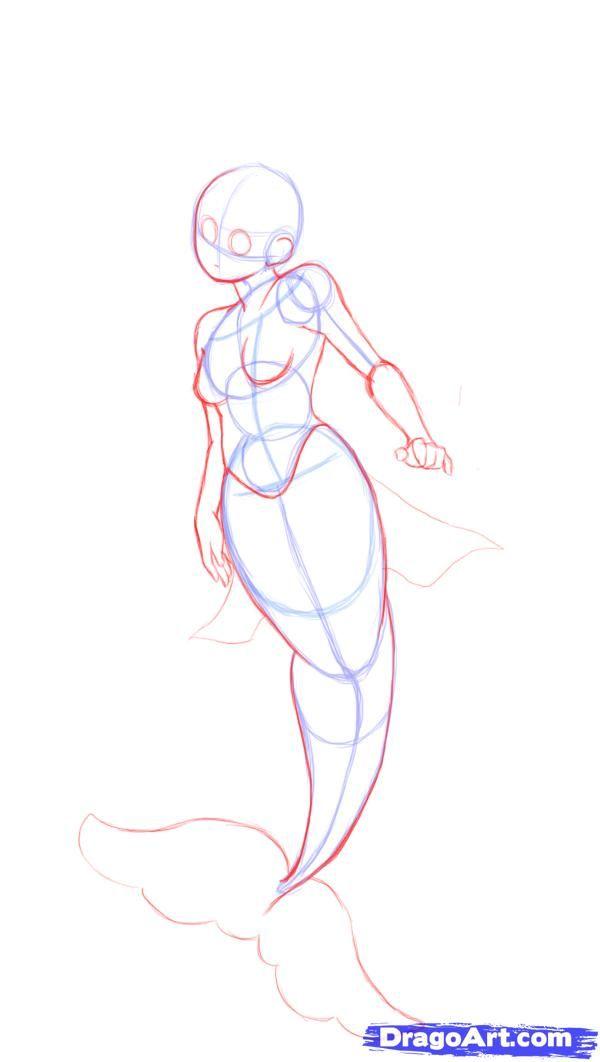 drawing mermaid tutorial   how to draw a cute mermaid step 3