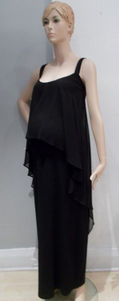 Queen Mum Maternity  Black  Maxi Dress  Chiffon Overlay   A solid colored maxi dress with a chiffon overlay. Rounded neckline.