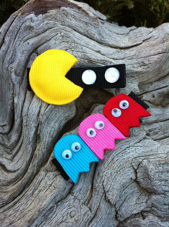 Pac Man Attach Ribbon Sculpture Set by patyg13 on Etsy, $6.00