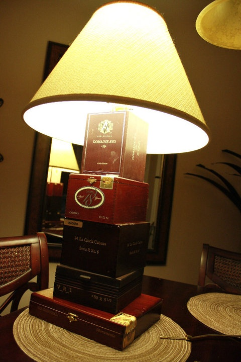 Another one of the lamps I made.  Most cigar stores will give you the boxes, or sell them to you on the cheap.  Cordless drill and old lamp hardware should get you through, although a drill press makes it substantially easier.