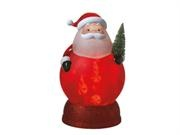 "11"" Frosted Santa Claus with Christmas Tree Rotating Candy Image Night Light. 11"" Santa Tabletop Nightlight Item #062173This jolly Santa sits atop a glittered red base and casts a gentle light to warm the night Santa features a frosted red acrylic body with green gloves, a glittered mustache and fur accents, and a glitter frosted Christmas tree Light is cast in the shape of multi-sized peppermints and candy canes dancing within Santa's belly Features a convenient on/off switch located at the…"