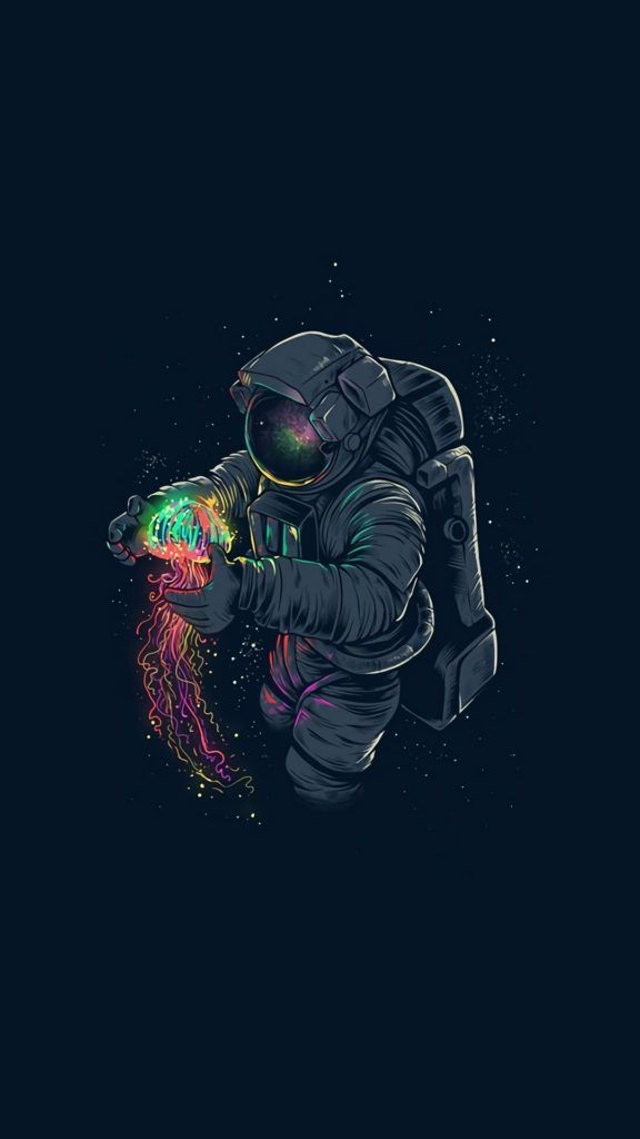 Astronaut Holding Colorful Glowing Jellyfish Iphone 7 Wallpaper Astronaut Wallpaper Iphone Wallpaper Astronaut Desktop Wallpaper Art