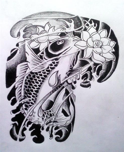 Pez koi blanco y negro tatto pinterest blanco y for Koi fish black and grey