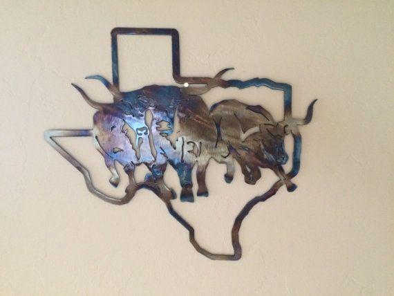 Texas State W/Texas Longhorns Metal Sculpture Wall Art