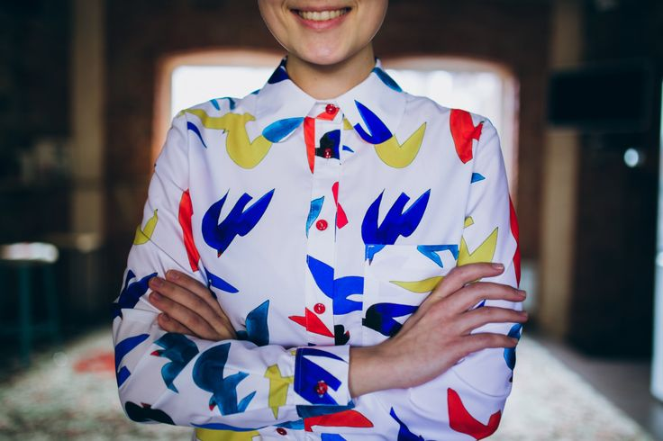 Birds print Shirt, Art print Shirt, Multicolor Print Shirt, Women's Shirt, Hipster Shirt,Women's Blouse, Oversize Shirt, Harajuku, 90s style by LikeShop2U on Etsy