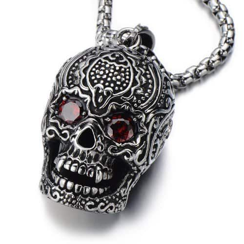 Stainless Steel Large Sugar Skull Pendant with Red Cubic Zirconia