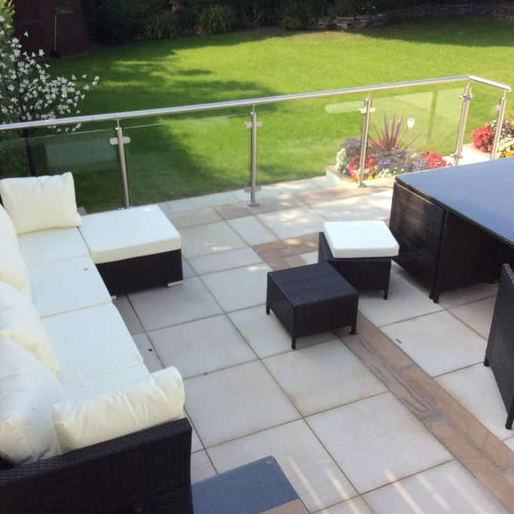 Patio and Glass balustrades handrail , Ideas for every garden by Abellandscapes http://www.abellandscapes.co.uk/