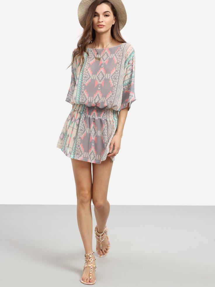 Vestido geométrico gasa-Sheinside