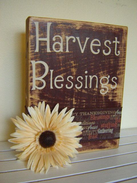 Harvest Blessings wooden sign rustic for fall by FayesAttic11, $18.50