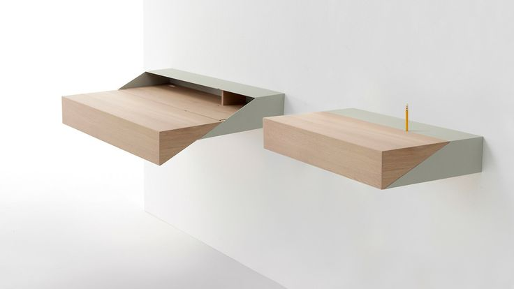 RAW EDGES BUILDS A WALL-MOUNTED BOX THAT FOLDS OUT INTO A DESK WITH DOUBLE THE WRITING SPACE.