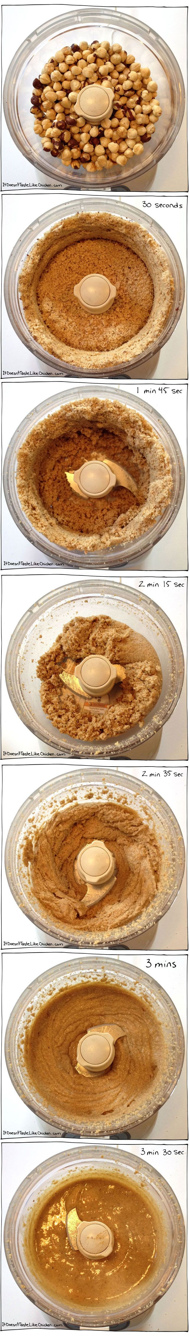Homemade Hazelnut Butter! Just hazelnuts and a food processor to get this delicious treat! #itdoesnttastelikechicken