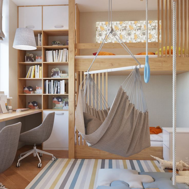 Над кроватью спроектирована игровая зона, которая дополнительно подсвечена с помощью лайтбокса.