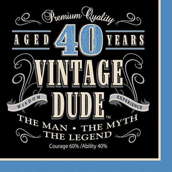 A man�s 40th birthday celebration calls for distinguished party supplies and the Vintage Dude Luncheon Napkin is perfectly poised!  The sturdy 3-ply lunch sized napkin features a decorative graphic in shades of blue, black, and white that reminds us of an aged bottle of premium whiskey.  The headline on the napkin reads �Aged 40 Years� with the phrase �Vintage Dude� in large letters while �The Man, The Myth, The Legend� is printed in smaller letters below.  Additional text that reads…