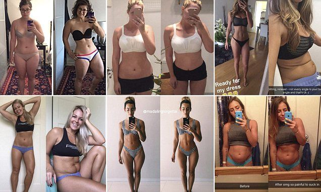 Bloggers and fitness models have been posting revealing before and after shots to demonstrate the dramatic difference factors like posture and lighting can make to their physique.