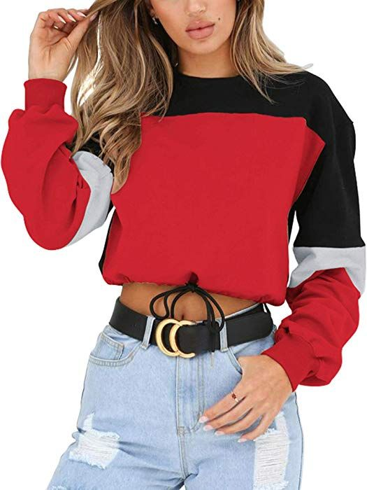 8470cfff49f9e Angashion Womens Sweatshirt-Long Sleeve Drawstring Hem Color Block Crop Top  Pullover Tops Red S at Amazon Women s Clothing store