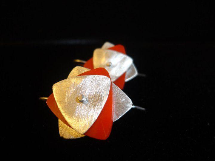 Aros de plata con acrilico