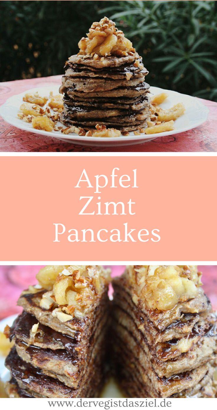 Apfel-Zimt-Pancakes mit Bananen-Haselnuss-Topping, vegan, glutenfrei