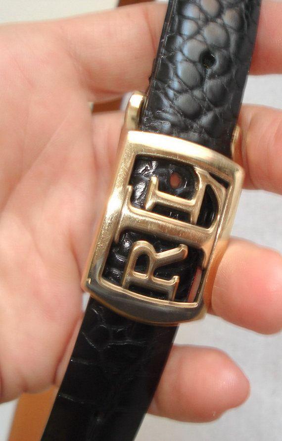 Ralph Lauren RL belt Black Croc Embossed Leather by MushkaVintage3
