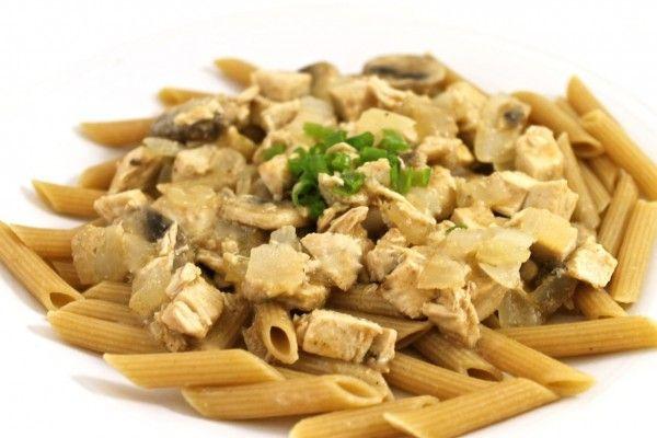 Skinny Chicken Stroganoff Over Pasta - SKINNY FACTS for 2/3 c pasta & 1¼ c stroganoff: 392 cal, 5g fat, 5mg chol, 40g carb, 41g protein, 6g fiber, 171mg sodium, 6g sugar FAT FACTS: for MARIE CALLENDER'S BEEF STROGANOFF: 600 cal, 27g fat, 59g carb,45g protein, 4g fiber, 1140mg sodium, 9g sugar