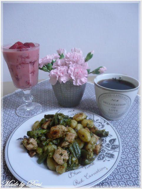 MŮJ RECEPT - kuřecí masíčko s brokolicí, fazolové lusky a bramborovými noky