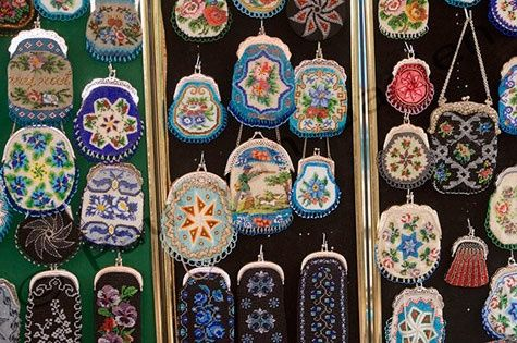 Beaded little bags (Beugeltas) from Staphorst (small village in Holland) - part of the traditional costume of that village. They're so pretty, but also really expensive! That's because they make them all by hand…