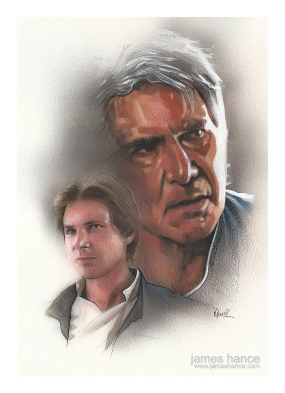Harrison Ford as Han Solo in Star Wars then & now ~ original painting by James Hance | via Geek Alerts