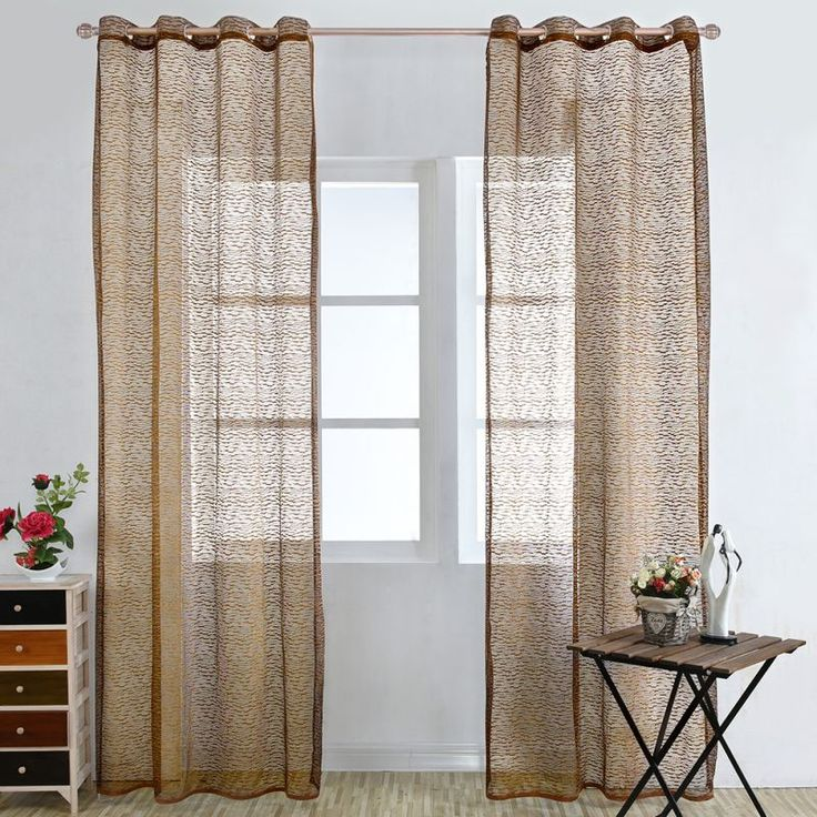 1pc Retro Style Solid Pattern French Window Curtain Household Tulle Fabrics Organza Sheer Panel Curtains for Bedroom #Affiliate