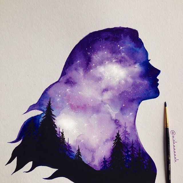 Hello all :)) new painting  #doubleexposure #watercolor #painting Print available on my Society6 shop! (society6.com/ahmadillustrations)
