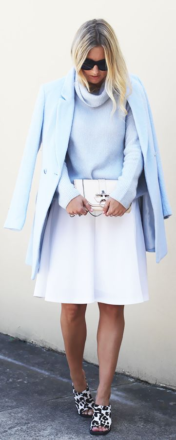 Street Style, March 2015: Gwen is wearing a baby blue coat and roll neck sweater and pastel from Forever New with a pair of Senso Whitney heels