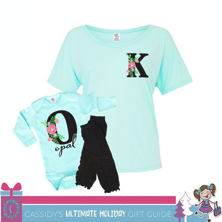 Mommy & Me Matching Personalized Shirts Chic Floral Monogrammed Mint Shirt and Onesie #twinning #mommyandme