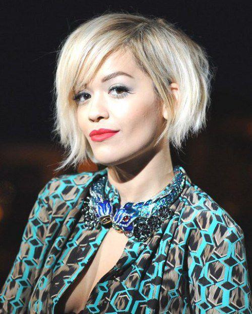 2017 Rita Ora Asymmetrical Short Bob Blonde Hairstyles