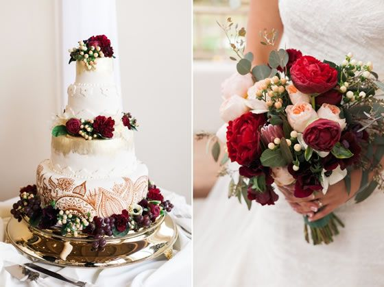 Real Flowers And Grapes Adorn The Three Tiered White Wedding Cake Lush And Elegant